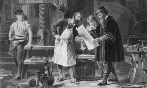 Gutenberg depicted taking the first proof off his printing press.